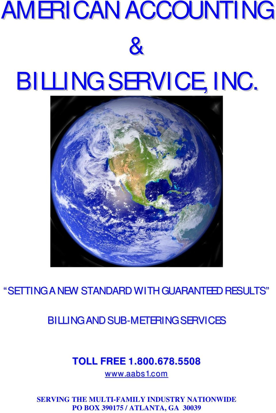 SUB-METERING SERVICES TOLL FREE 1.800.678.5508 www.aabs1.