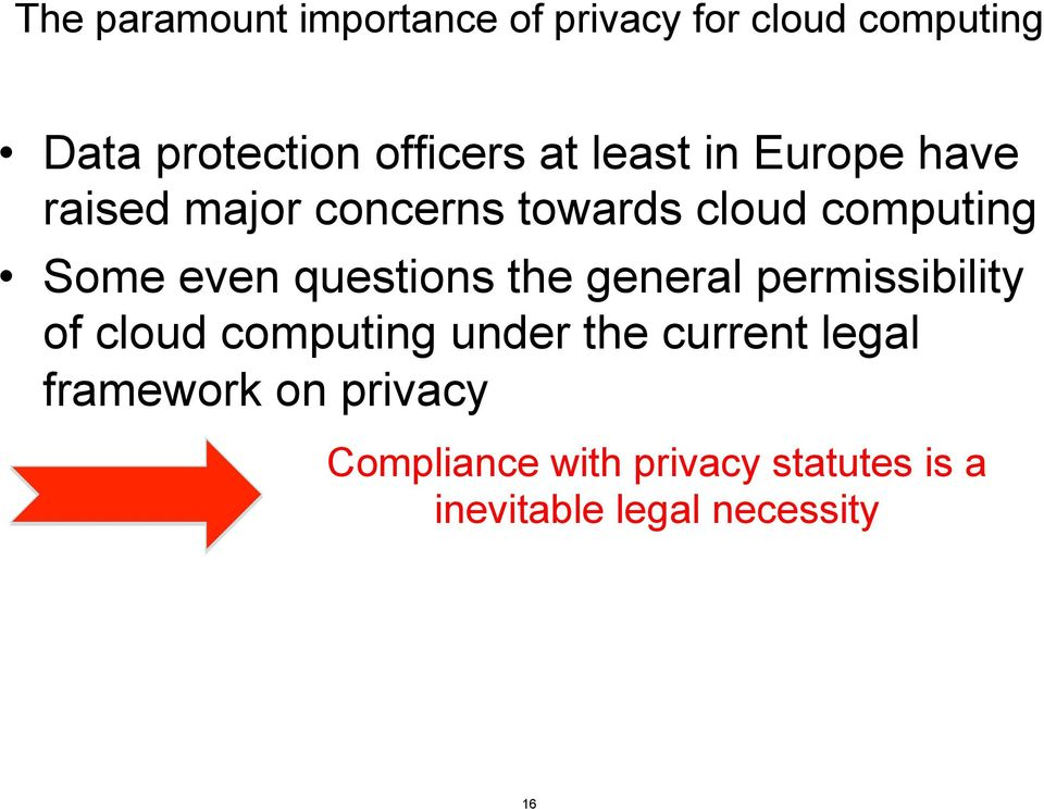 questions the general permissibility of cloud computing under the current legal
