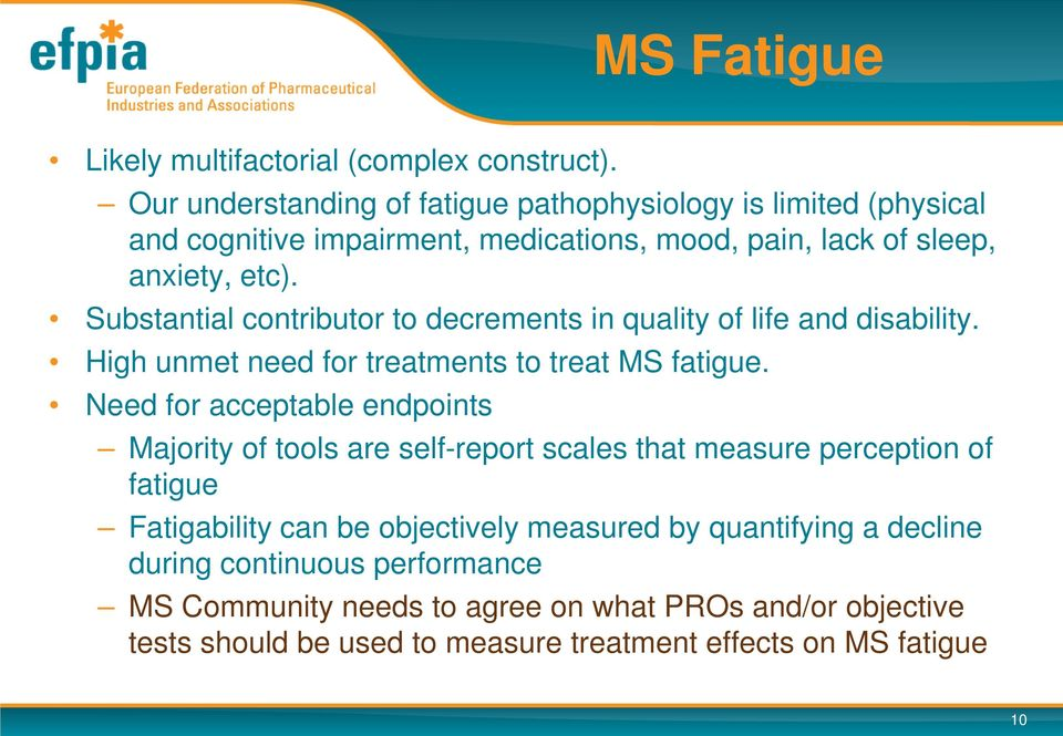 Substantial contributor to decrements in quality of life and disability. High unmet need for treatments to treat MS fatigue.