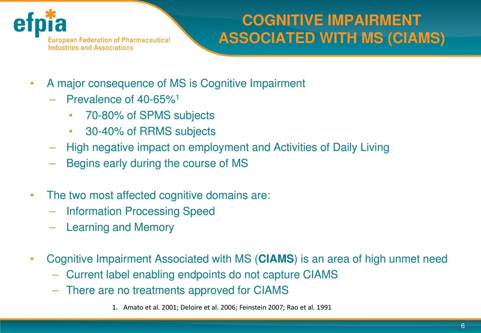 domains are: Information Processing Speed Learning and Memory Cognitive Impairment Associated with MS (CIAMS) is an area of high unmet need Current label