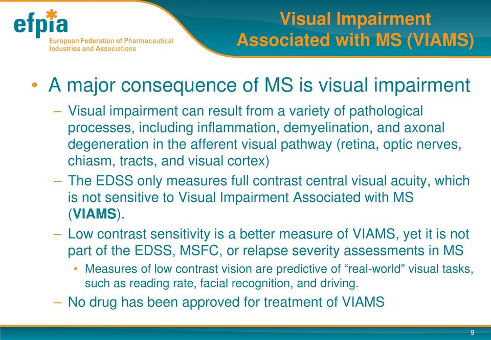 which is not sensitive to Visual Impairment Associated with MS (VIAMS).