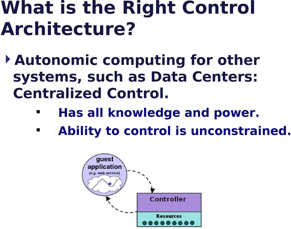 Data Centers: Centralized Control.