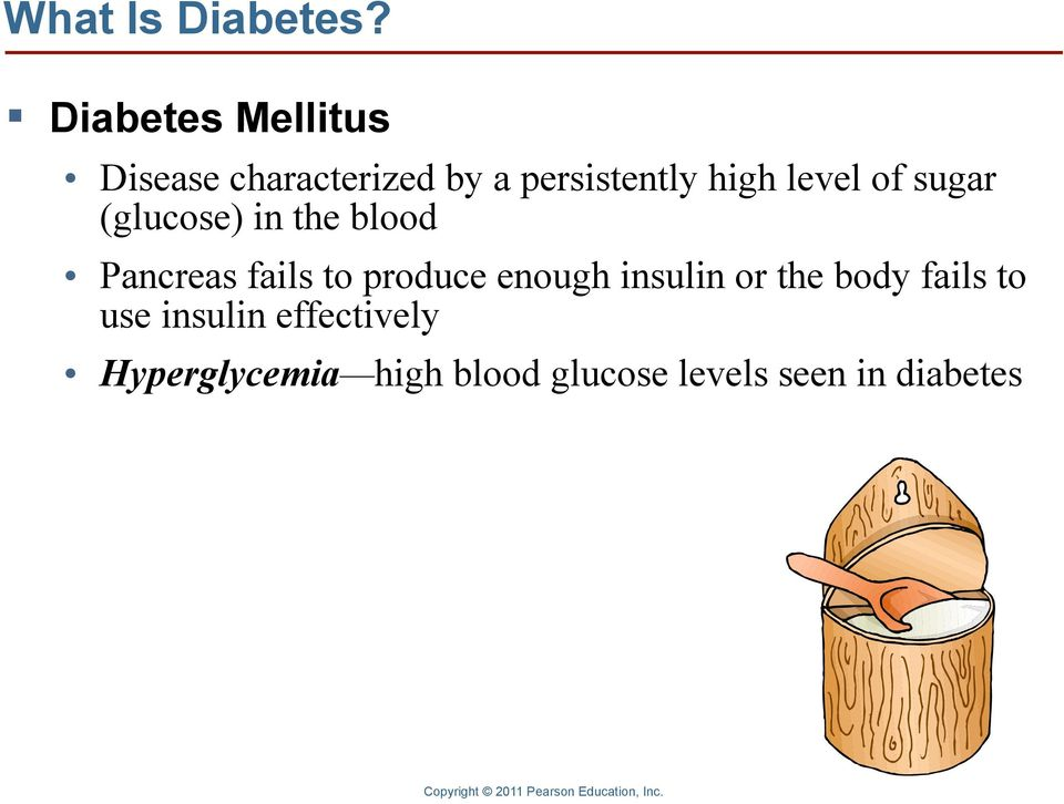 level of sugar (glucose) in the blood Pancreas fails to produce