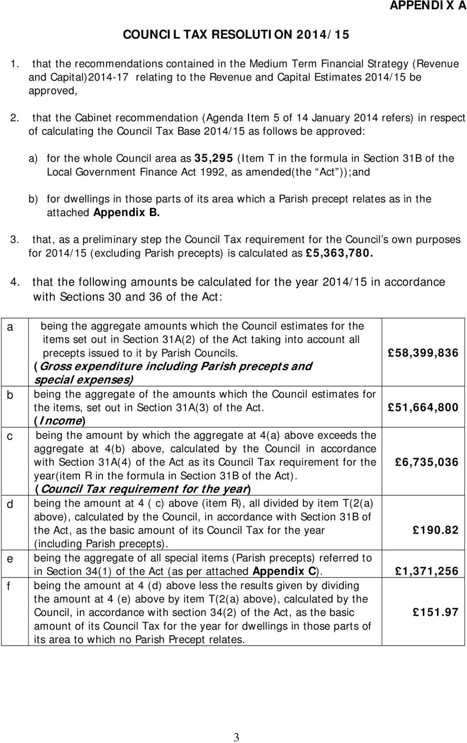 that the Cabinet recommendation (Agenda Item 5 of 14 January 2014 refers) in respect of calculating the Council Tax Base 2014/15 as follows be approved: a) for the whole Council area as 35,295 (Item