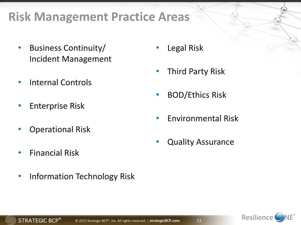 Third Party Risk BOD/Ethics Risk Environmental Risk Quality Assurance