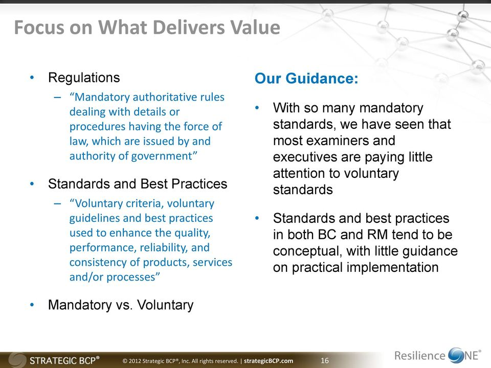 and/or processes Our Guidance: With so many mandatory standards, we have seen that most examiners and executives are paying little attention to voluntary standards Standards and best