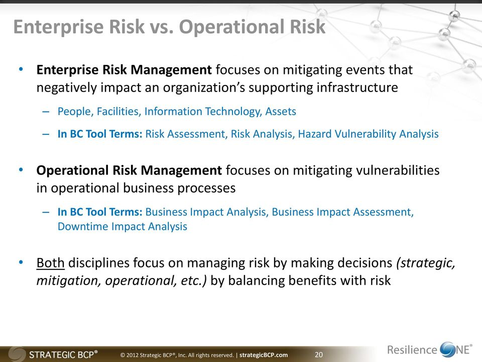 Technology, Assets In BC Tool Terms: Risk Assessment, Risk Analysis, Hazard Vulnerability Analysis Operational Risk Management focuses on mitigating vulnerabilities in