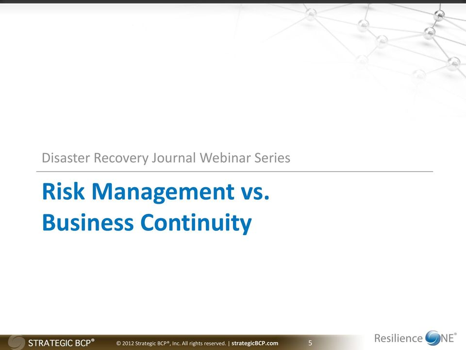 Business Continuity 2012 Strategic