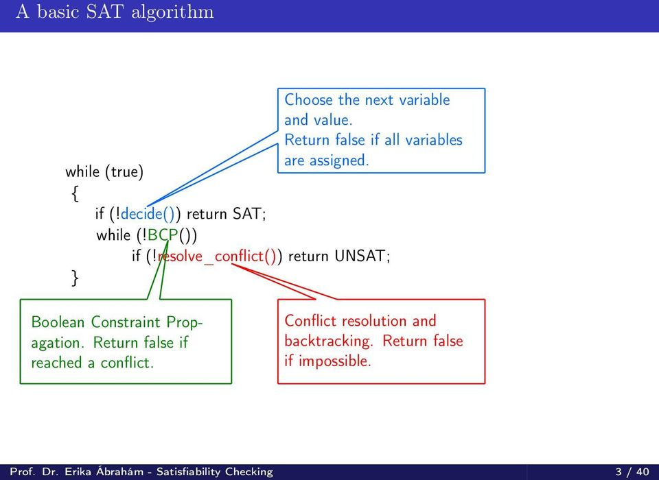 BCP()) if (!resolve_conflict()) return UNSAT; } Boolean Constraint Propagation.