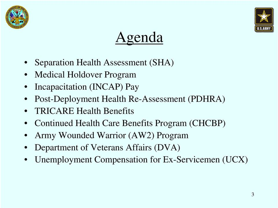 Continued Health Care Benefits Program (CHCBP) Army Wounded Warrior (AW2) Program