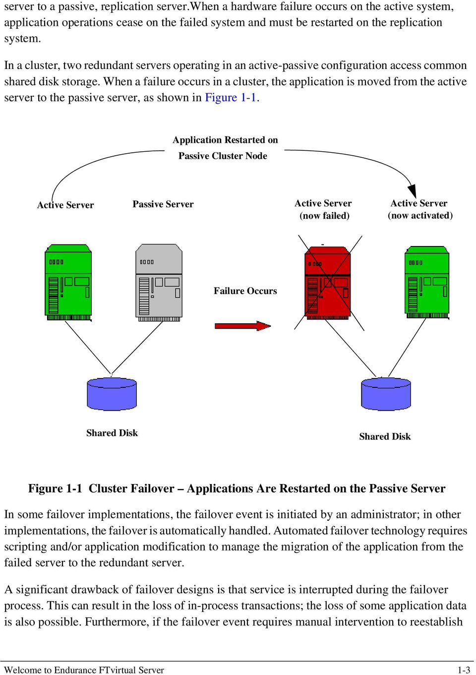 When a failure occurs in a cluster, the application is moved from the active server to the passive server, as shown in Figure 1-1.