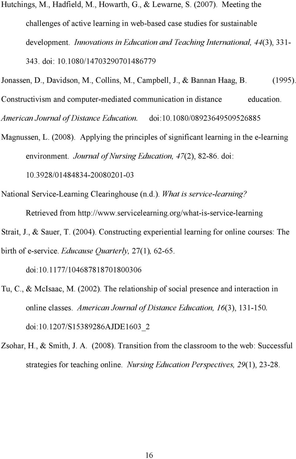 Constructivism and computer-mediated communication in distance education. American Journal of Distance Education. doi:10.1080/08923649509526885 Magnussen, L. (2008).