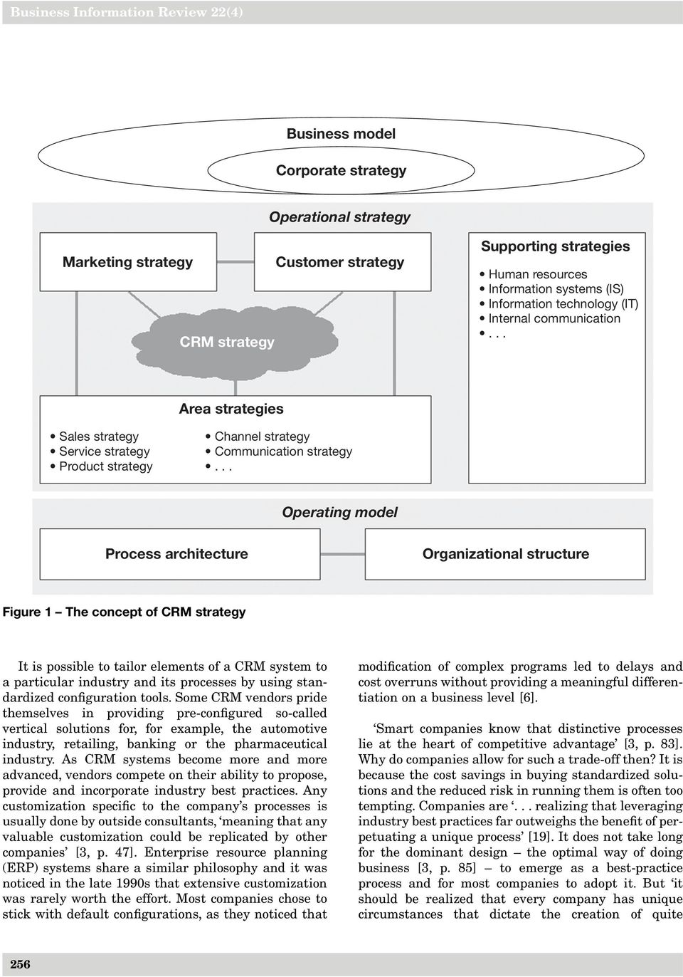 .. Operating model Process architecture Organizational structure Figure 1 The concept of CRM strategy It is possible to tailor elements of a CRM system to a particular industry and its processes by