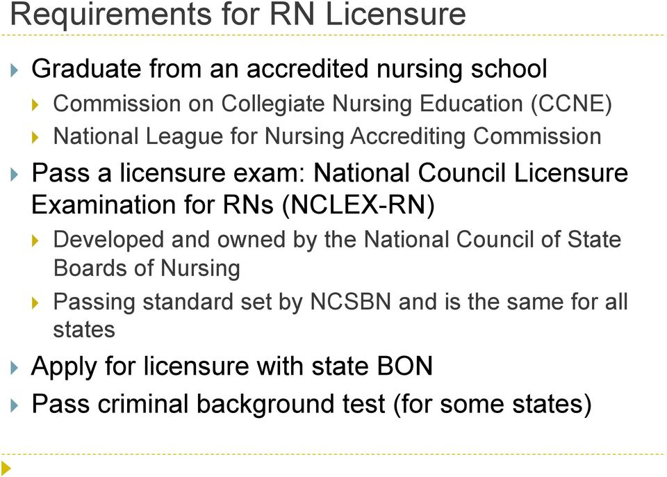 Examination for RNs (NCLEX-RN) Developed and owned by the National Council of State Boards of Nursing Passing