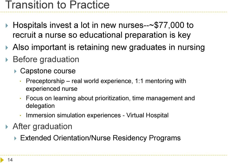 world experience, 1:1 mentoring with experienced nurse Focus on learning about prioritization, time management and