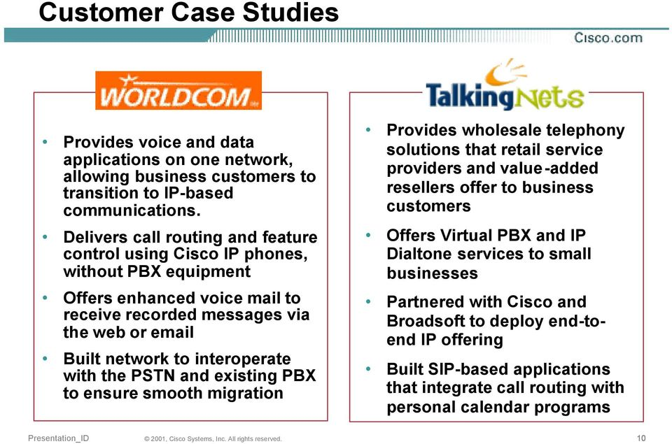 interoperate with the and existing PBX to ensure smooth migration Provides wholesale telephony solutions that retail service providers and value-added resellers offer to business