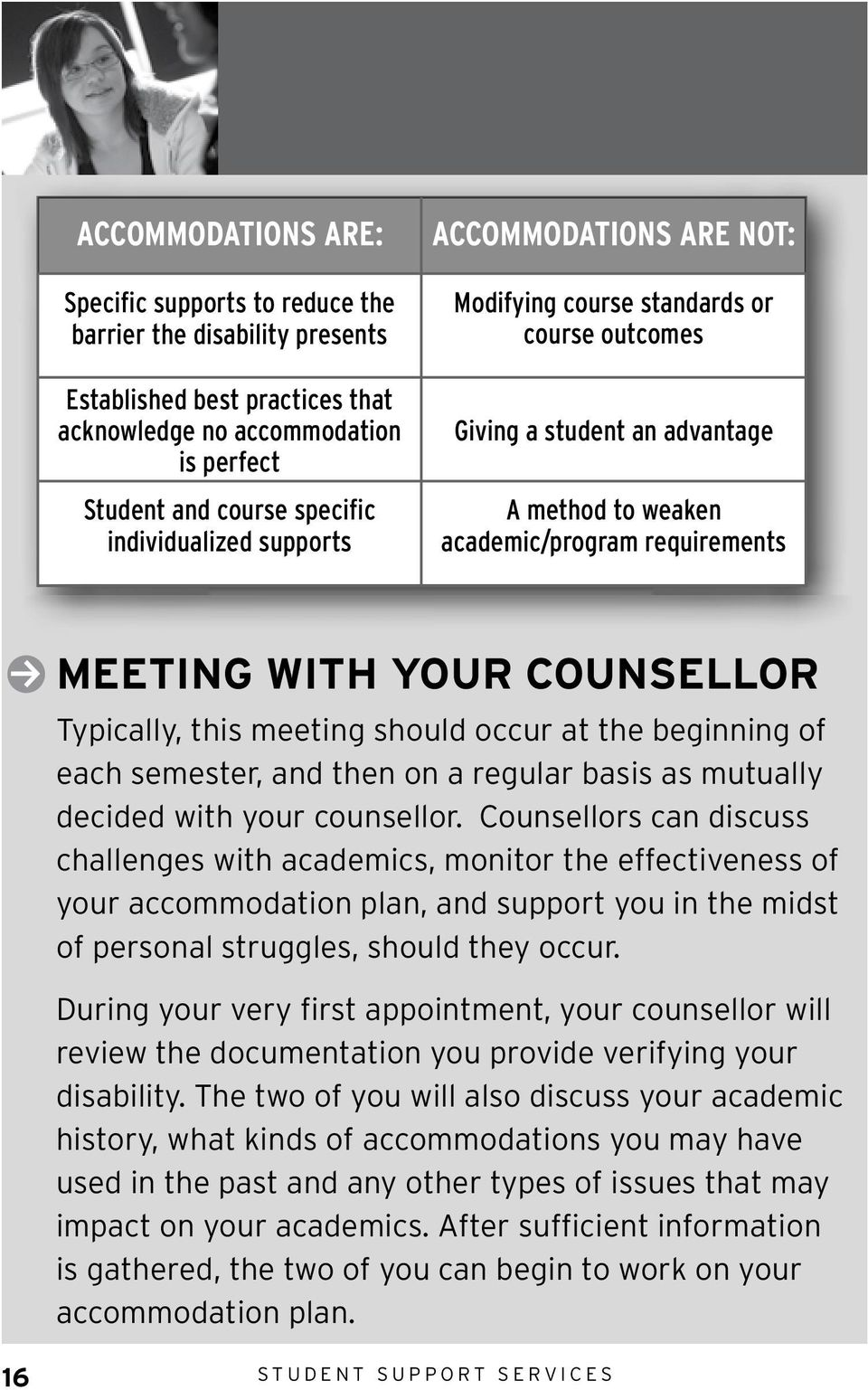 this meeting should occur at the beginning of each semester, and then on a regular basis as mutually decided with your counsellor.