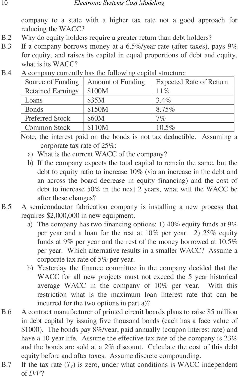 4 A company currently has the following capital structure: Source of Funding Amount of Funding Expected Rate of Return Retained Earnings $100M 11% Loans $35M 3.4% Bonds $150M 8.