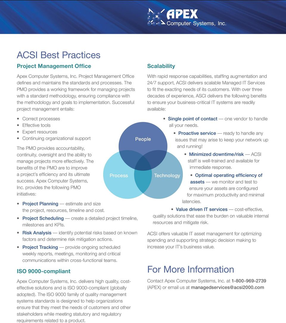 Successful project management entails: Scalability With rapid response capabilities, staffing augmentation and 24/7 support, ACSI delivers scalable Managed IT Services to fit the exacting needs of