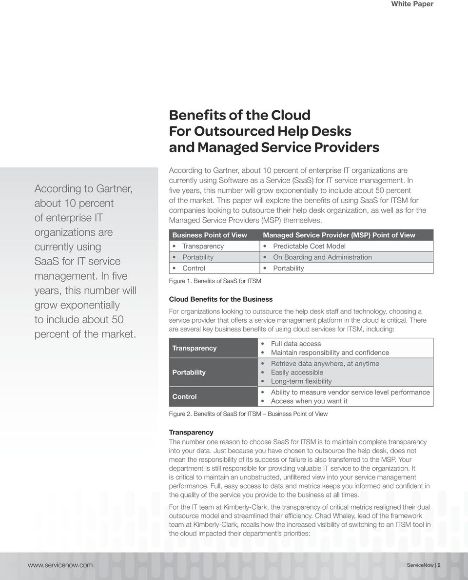 According to Gartner, about 10 percent of enterprise IT organizations are currently using Software as a Service (SaaS) for IT service  This paper will explore the benefits of using SaaS for ITSM for