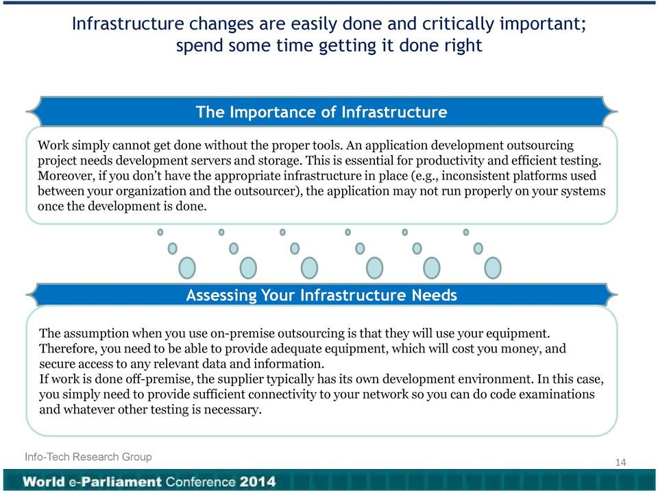 Moreover, if you don t have the appropriate infrastructure in place (e.g.