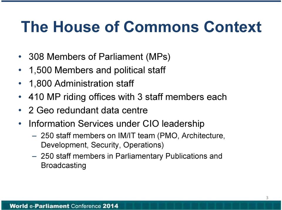 centre Information Services under CIO leadership 250 staff members on IM/IT team (PMO,