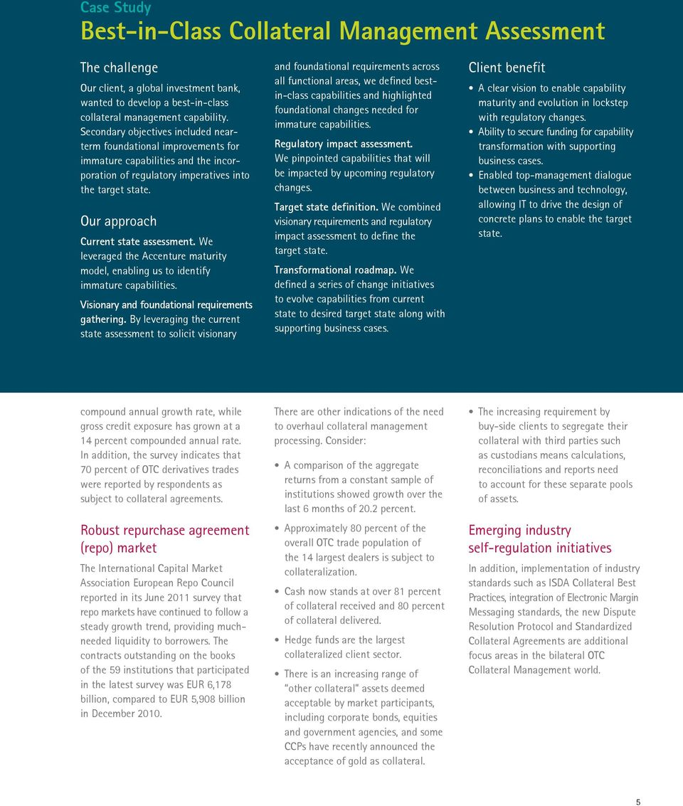 Accenture Collateral Management Services Achieving High Performance