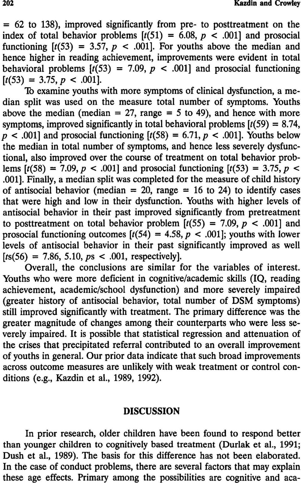 001]. To examine youths with more symptoms of clinical dysfunction, a median split was used on the measure total number of symptoms.