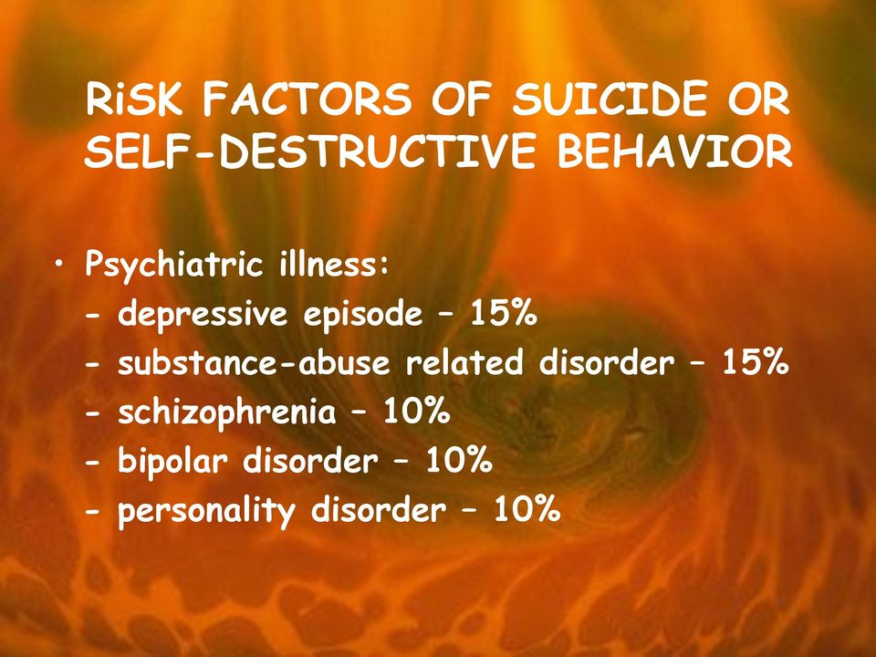 15% - substance-abuse related disorder 15% -