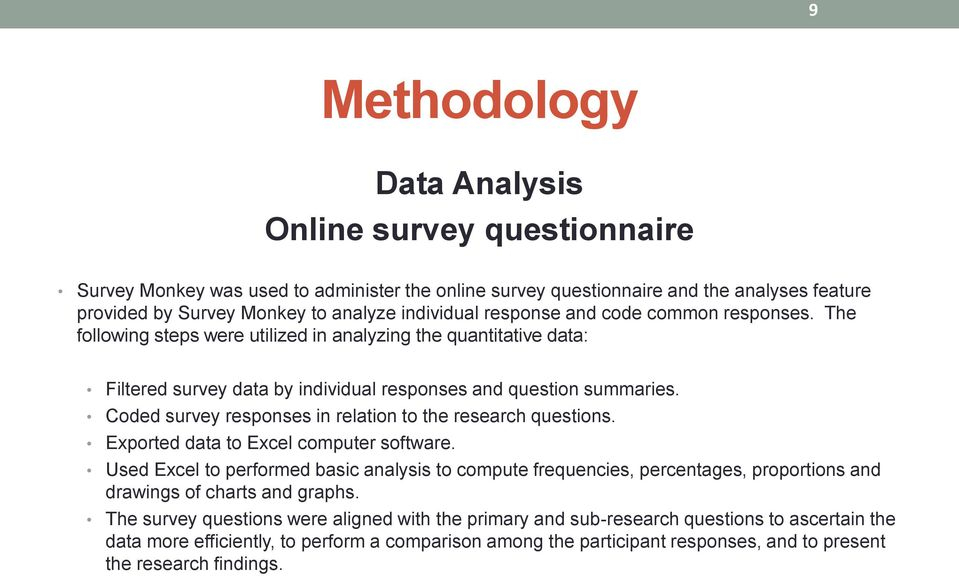Coded survey responses in relation to the research questions. Exported data to Excel computer software.