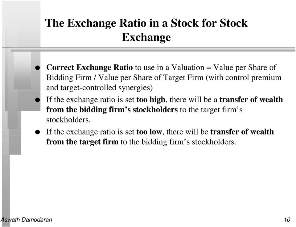 there will be a transfer of wealth from the bidding firm s stockholders to the target firm s stockholders.