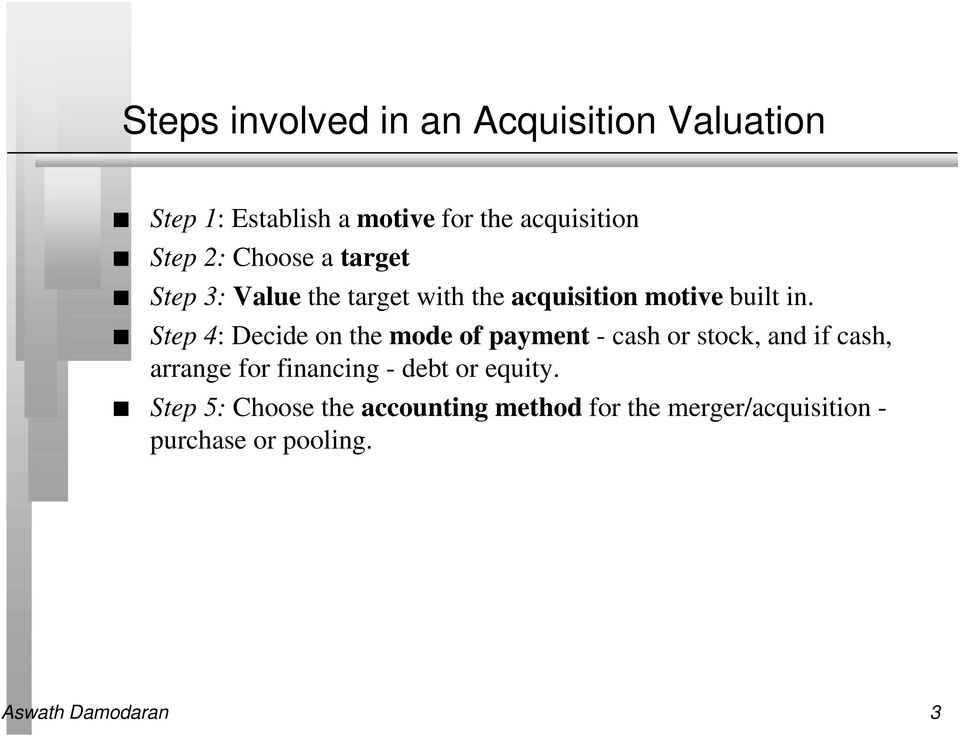 Step 4: Decide on the mode of payment - cash or stock, and if cash, arrange for financing - debt
