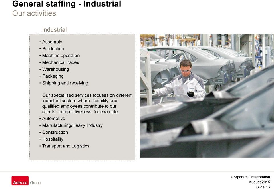 industrial sectors where flexibility and qualified employees contribute to our clients competitiveness,