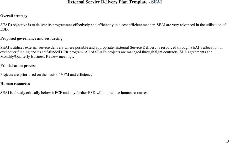 External Service Delivery is resourced through SEAI s allocation of exchequer funding and its self-funded BER program.