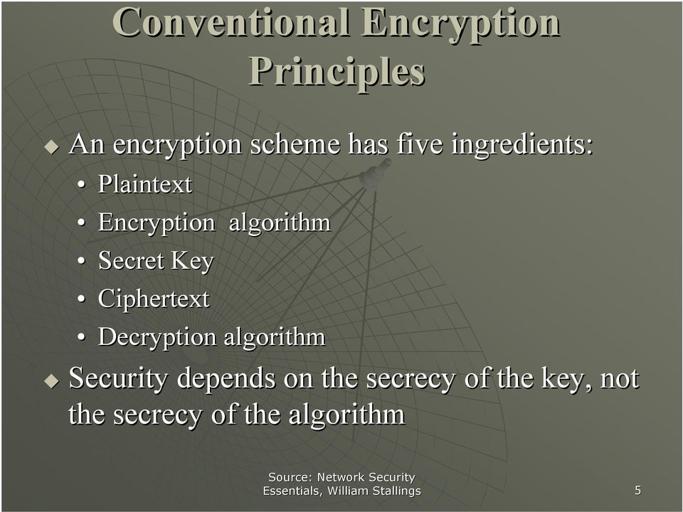 Decryption algorithm Security depends on the secrecy of the key, not