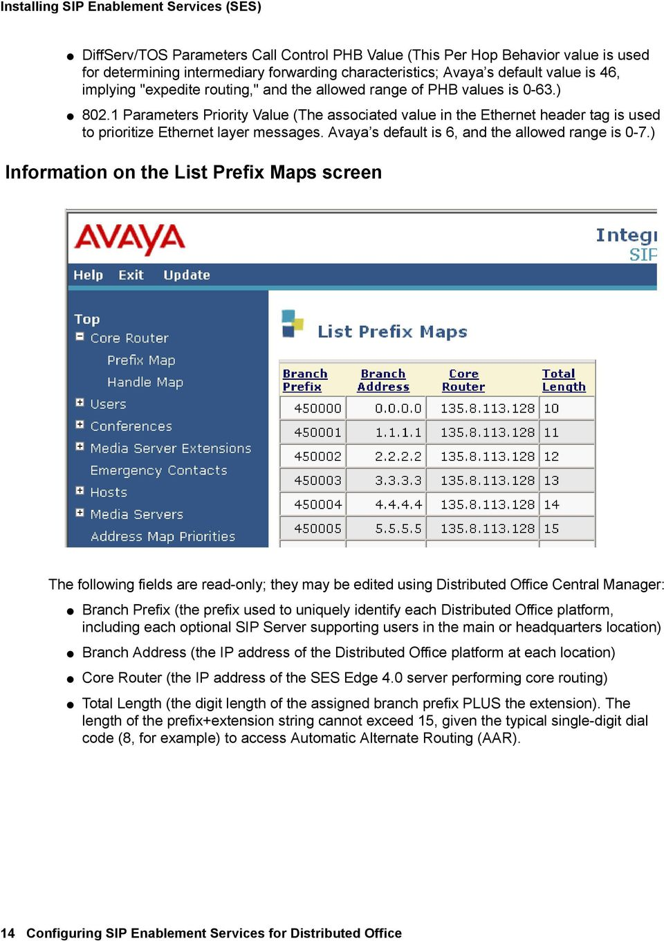 1 Parameters Priority Value (The associated value in the Ethernet header tag is used to prioritize Ethernet layer messages. Avaya s default is 6, and the allowed range is 0-7.