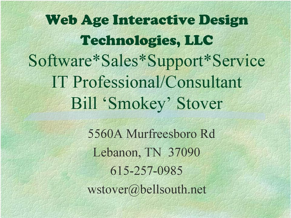Professional/Consultant Bill Smokey Stover 5560A