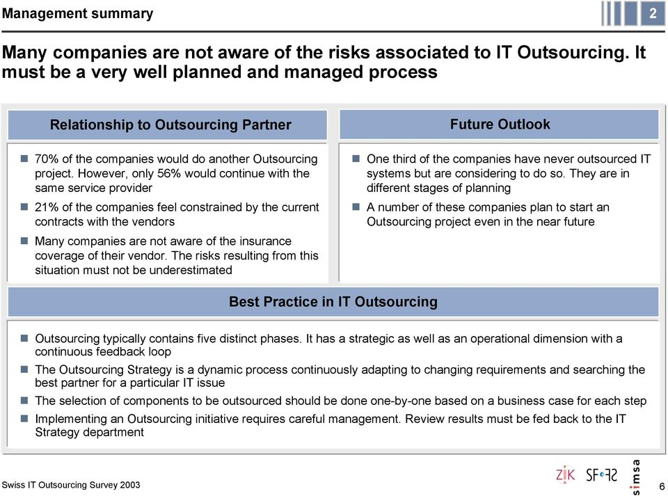 However, only 56% would continue with the same service provider 21% of the companies feel constrained by the current contracts with the vendors Many companies are not aware of the insurance coverage