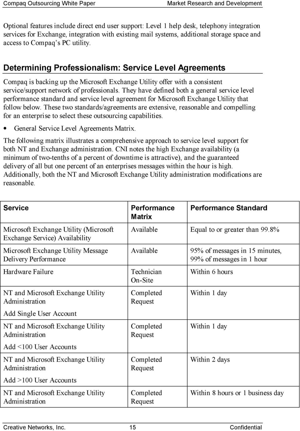 They have defined both a general service level performance standard and service level agreement for Microsoft Exchange Utility that follow below.