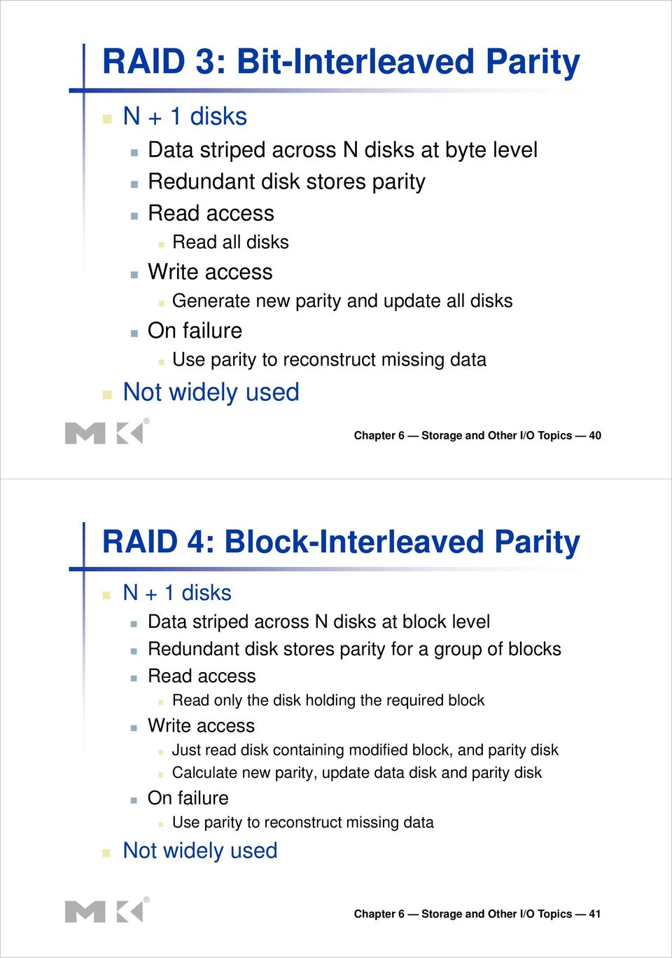 across N disks at block level Redundant disk stores parity for a group of blocks Read access Read only the disk holding the required block Write access Just read disk containing