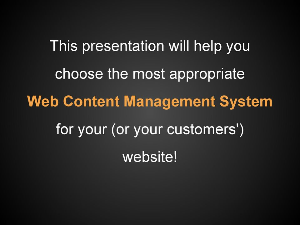 Content Management System for