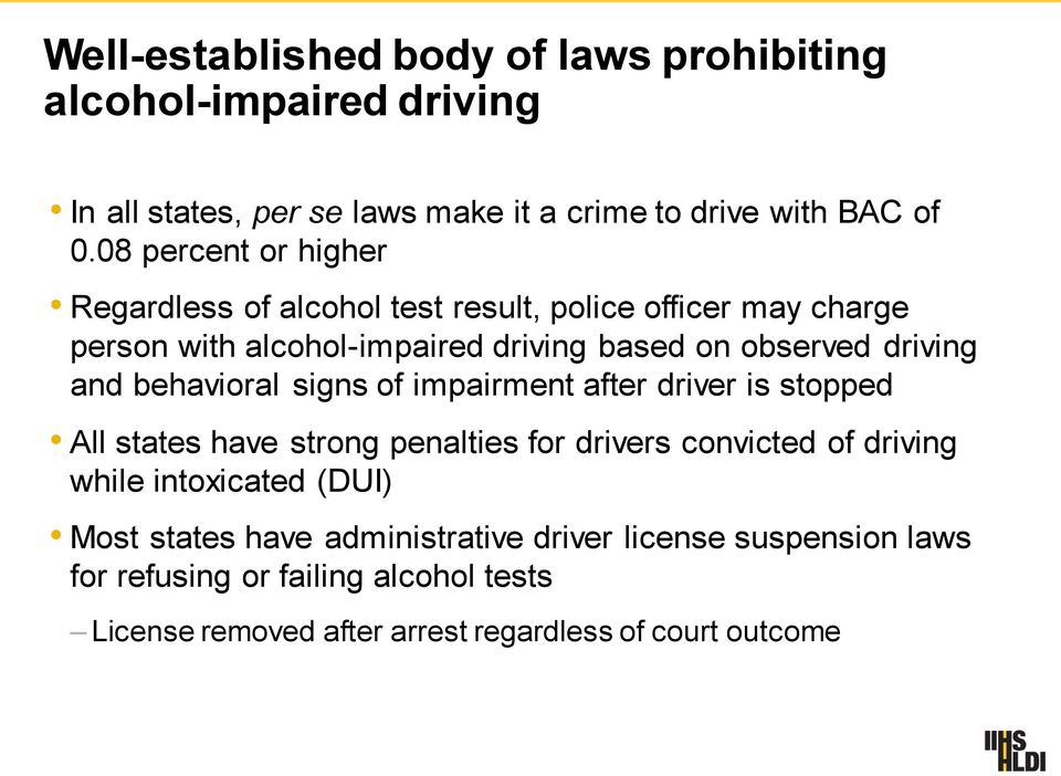 and behavioral signs of impairment after driver is stopped All states have strong penalties for drivers convicted of driving while intoxicated