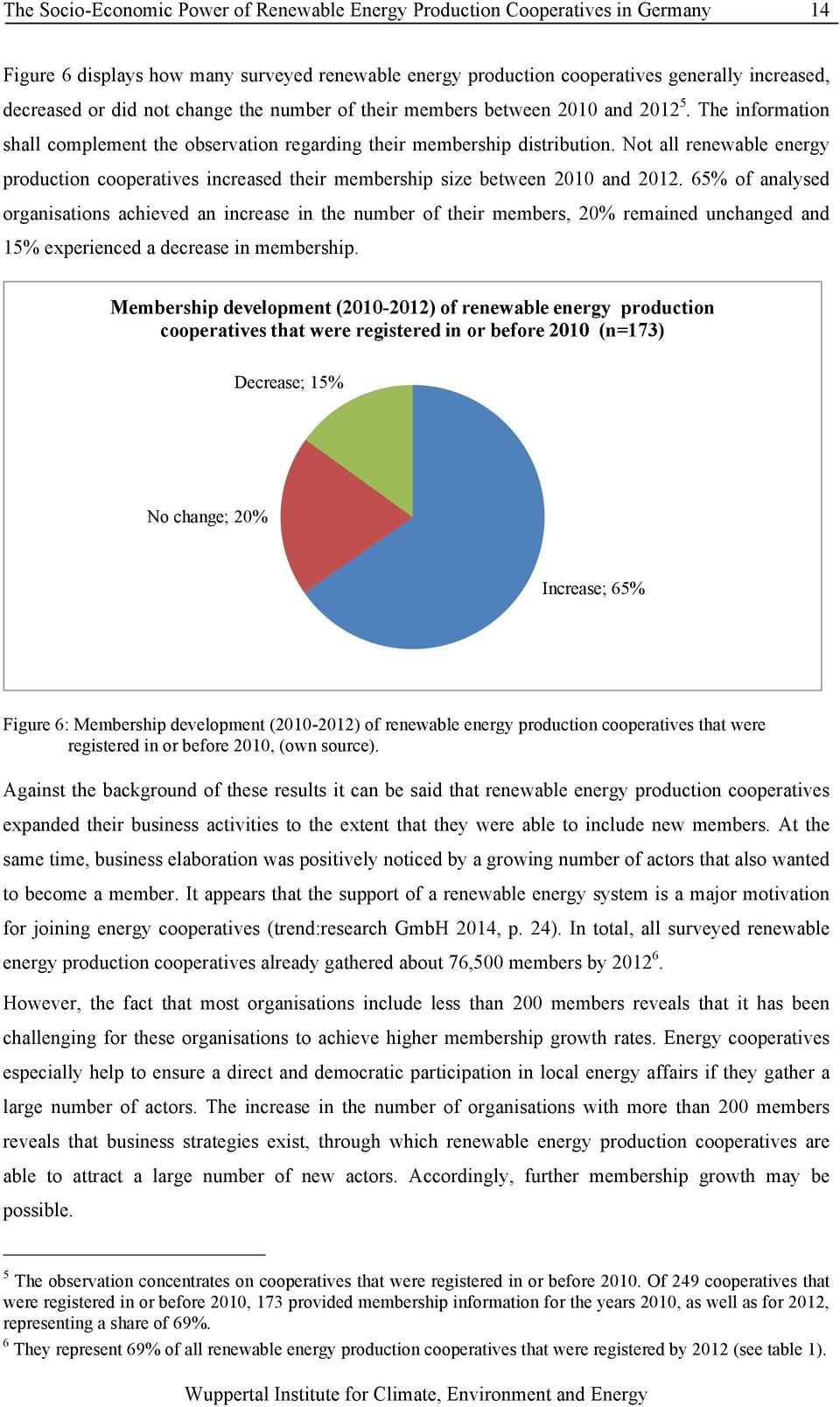 Not all renewable energy production cooperatives increased their membership size between 2010 and 2012.