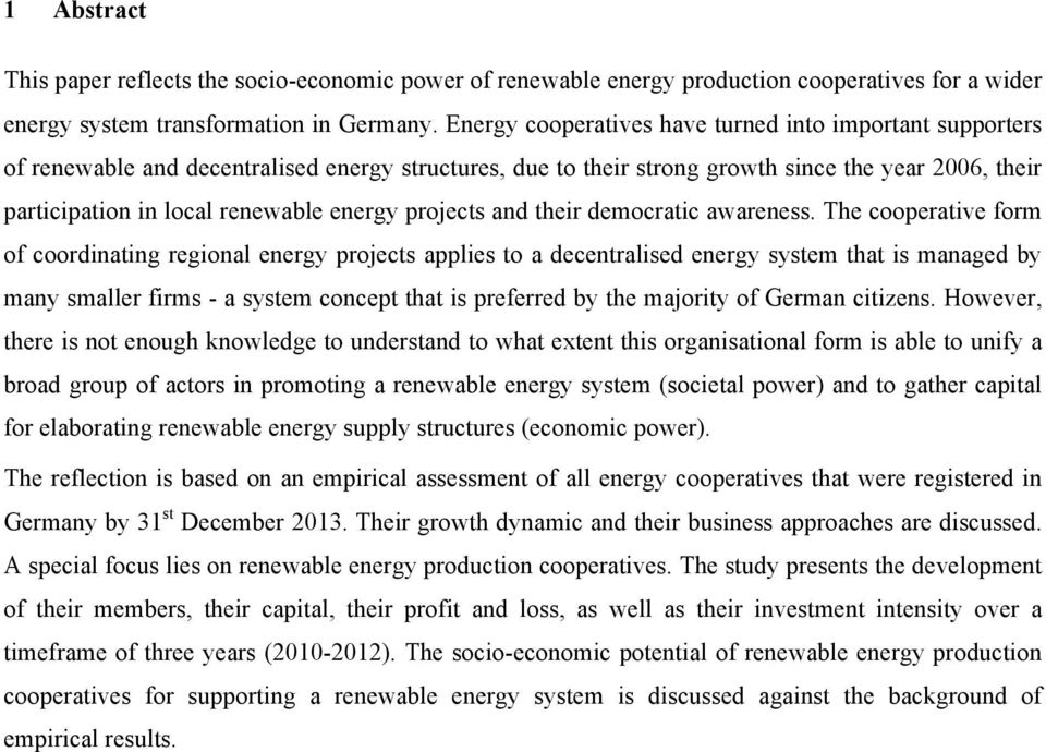 energy projects and their democratic awareness.