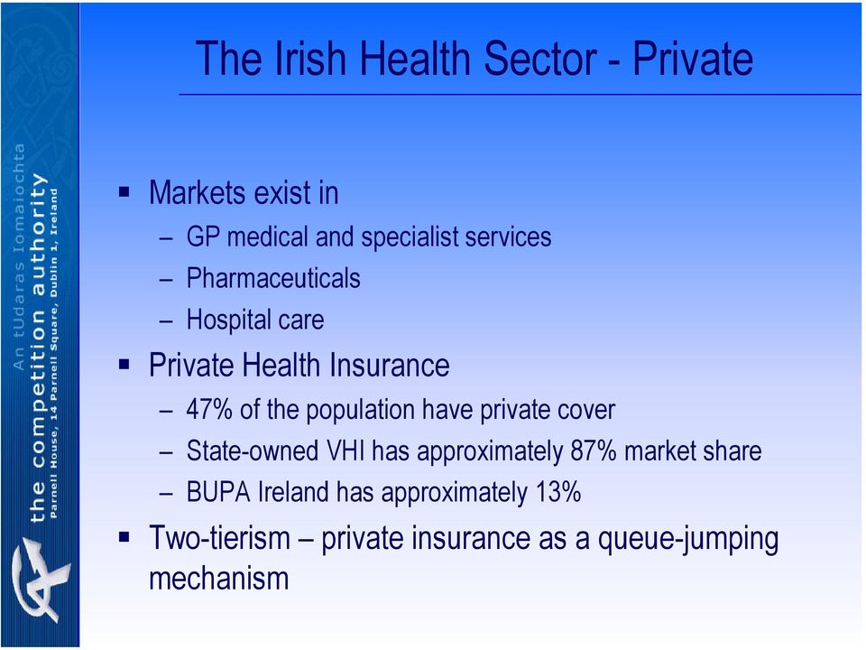 population have private cover State-owned VHI has approximately 87% market share