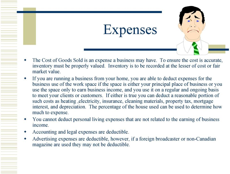 If you are running a business from your home, you are able to deduct expenses for the business use of the work space if the space is either your principal place of business or you use the space only