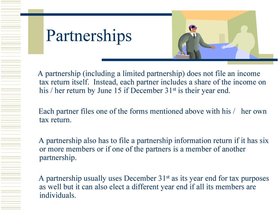 Each partner files one of the forms mentioned above with his / her own tax return.