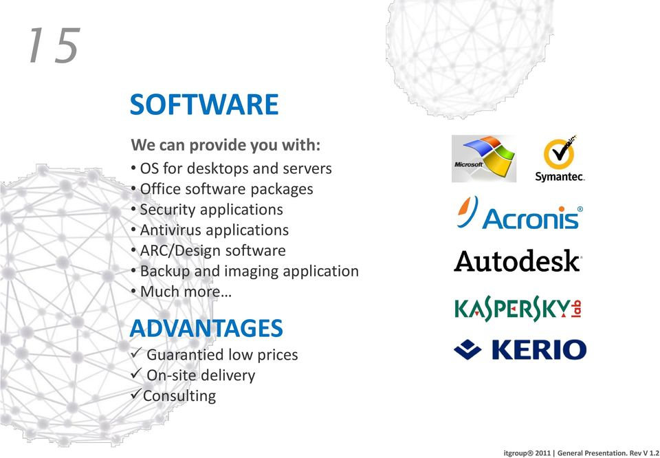 Antivirus applications ARC/Design software Backup and imaging