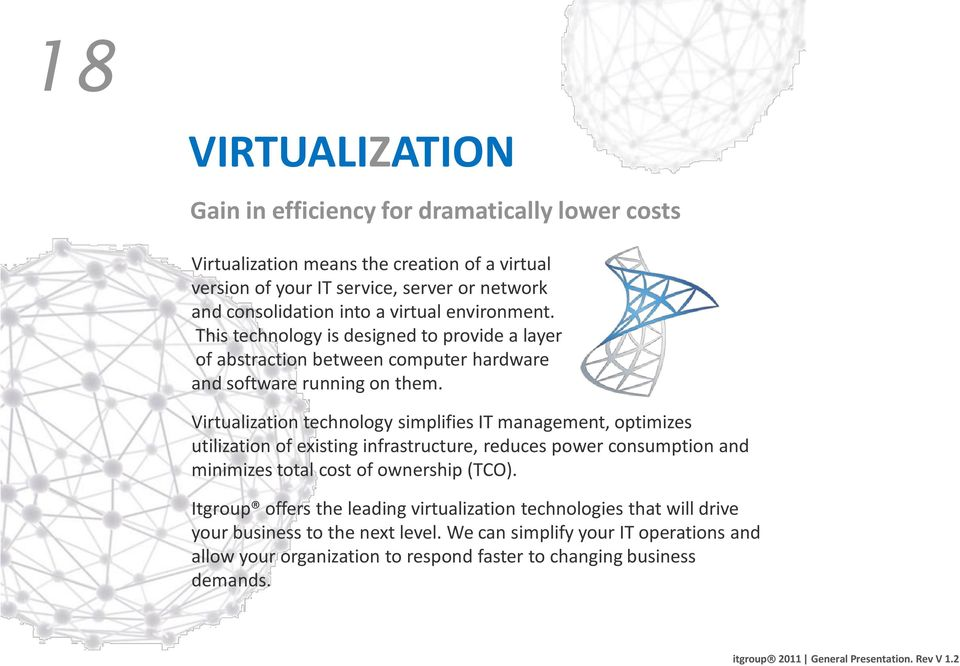 Virtualization technology simplifies IT management, optimizes utilization of existing infrastructure, reduces power consumption and minimizes total cost of ownership (TCO).