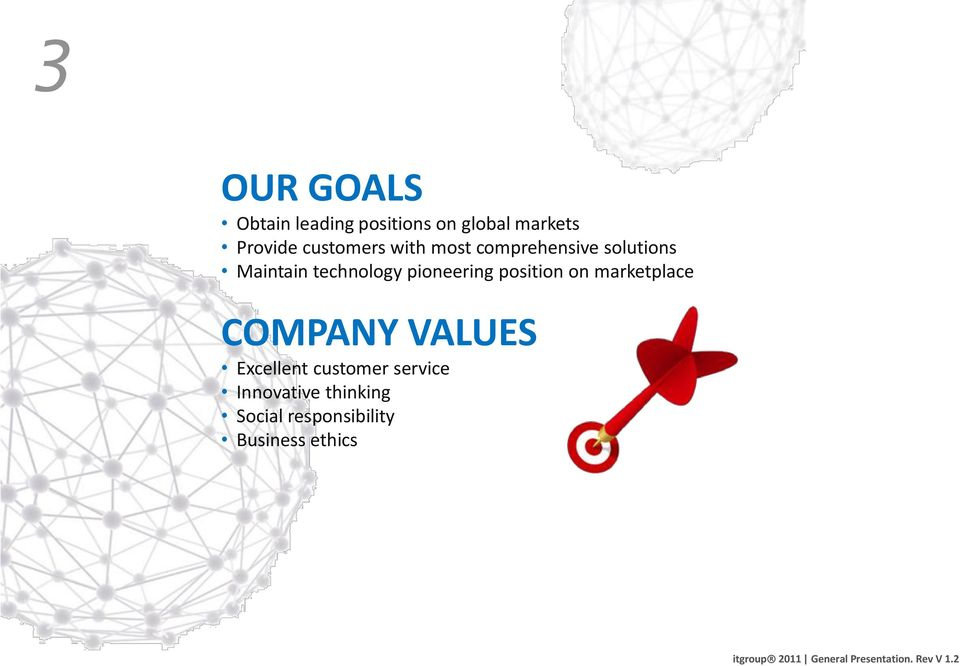 pioneering position on marketplace COMPANY VALUES Excellent